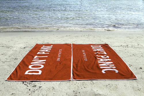 H2G2 Towel on a beach